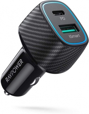 ihocon: RAVPower 48W 2-Port Type C Car Adapter 汽車充電器
