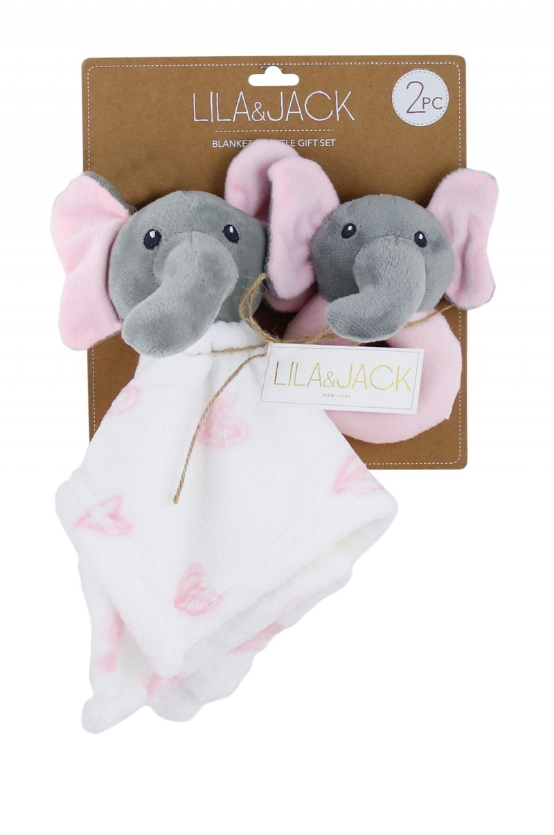 ihocon: LILA AND JACK 12x12 Elephant Lovey with Elephant Rattle 嬰兒玩具