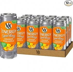 ihocon: V8 +Energy, Sparkling Juice Drink with Green Tea, Orange Pineapple, 12 Fl Oz (Pack of 12) 氣泡綠茶果汁