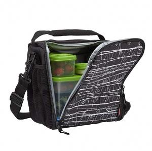ihocon: Rubbermaid LunchBlox Lunch Bag, Medium, Black Etch  便當袋含保鮮盒及保冷blue ice
