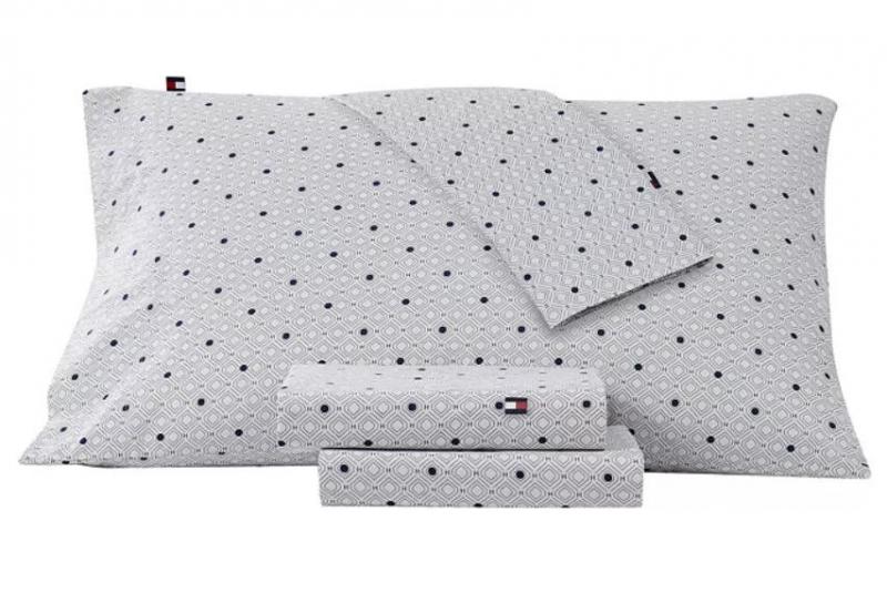ihocon: Tommy Hilfiger Geo H Twin Sheet Set 純棉床單枕頭套組