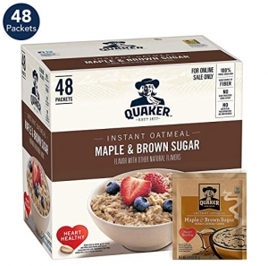 ihocon: Quaker Instant Oatmeal, Maple & Brown Sugar, 1.51oz Packets (48 Pack) 即食燕麥片