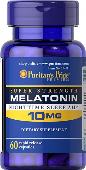 ihocon: Puritan's Pride Super Strength Melatonin 10mg Rapid Release Capsules, 60-Count 褪黑激素