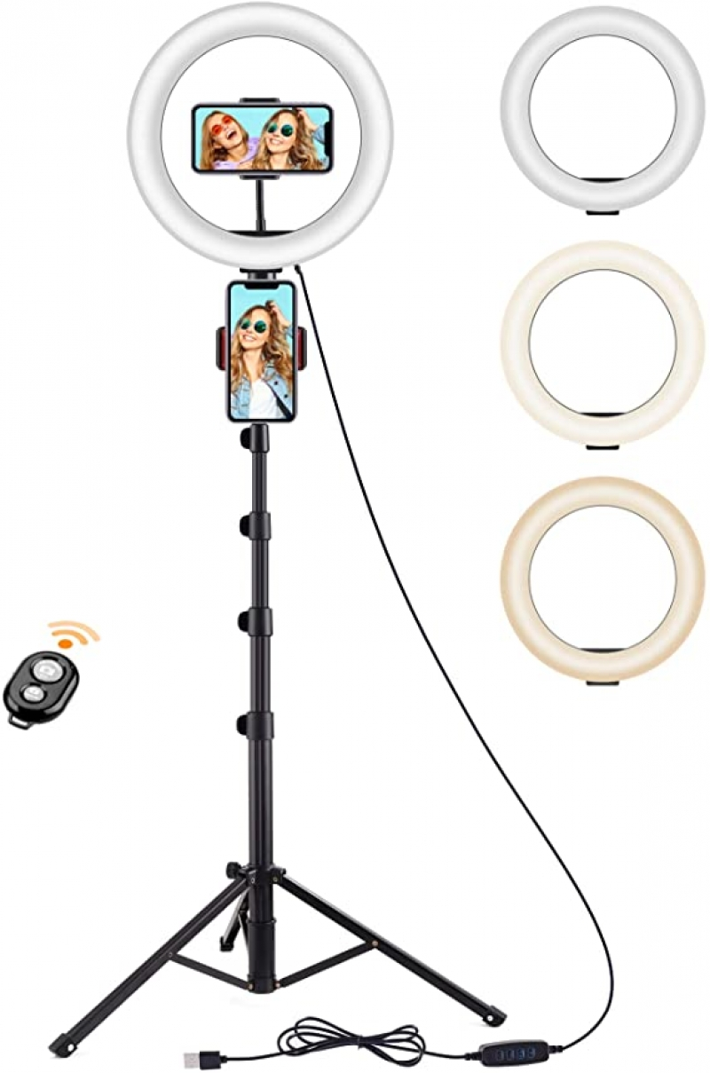 ihocon: Techvilla 10 LED Ring Light with Tripod Stand, 3 Modes & 10 Adjustable Brightness 自拍環型燈/手機支架