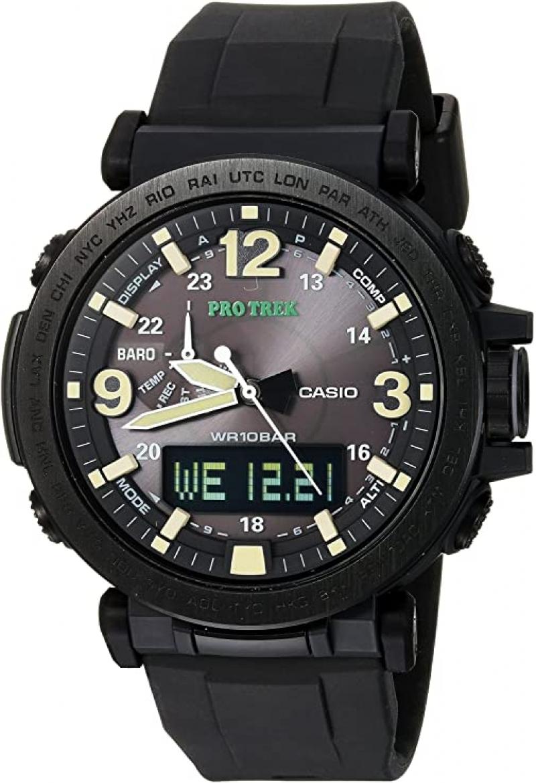 ihocon: Casio Men's PRO TREK Stainless Steel Quartz Watch with Silicone Strap 卡西歐男錶