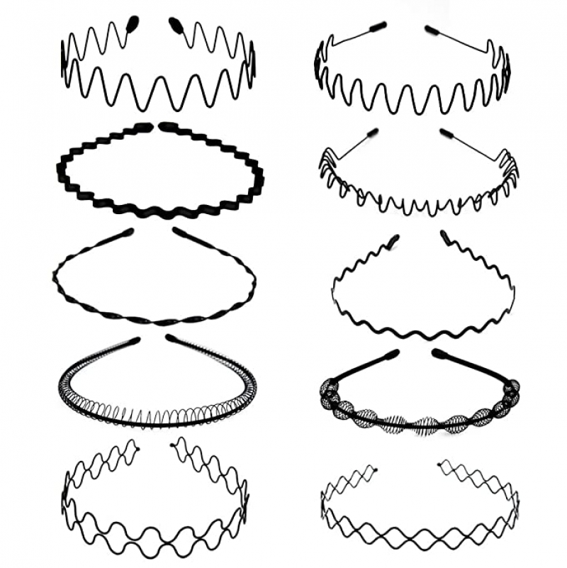 ihocon: obmwang 10 Pieces Metal Hair Bands Unisex 金屬髮箍(男,女均適用)