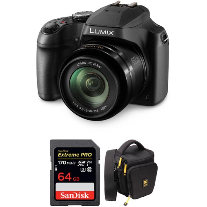 ihocon: Panasonic Lumix DC-FZ80 18.1MP Wi-Fi Compact Ultra HD Digital Camera with 20-1200mm Lens, 60x Optical Zoom(Black) + SanDisk 64GB Extreme PRO UHS-I SDXC Memory Card + Ruggard Hunter 35 DSLR Holster Bag