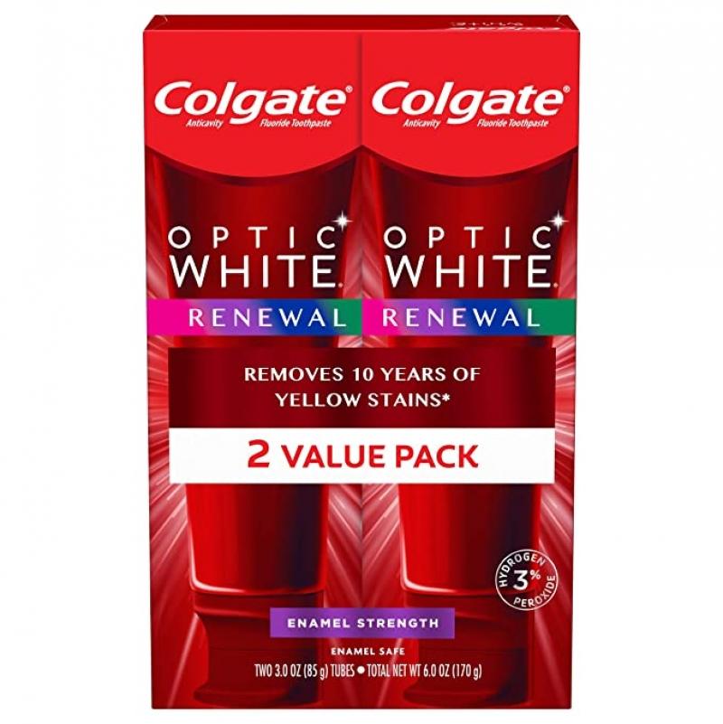 ihocon: Colgate Optic White Renewal Teeth Whitening Toothpaste, 3 Ounce (2 Pack) 高露潔牙齒美白牙膏