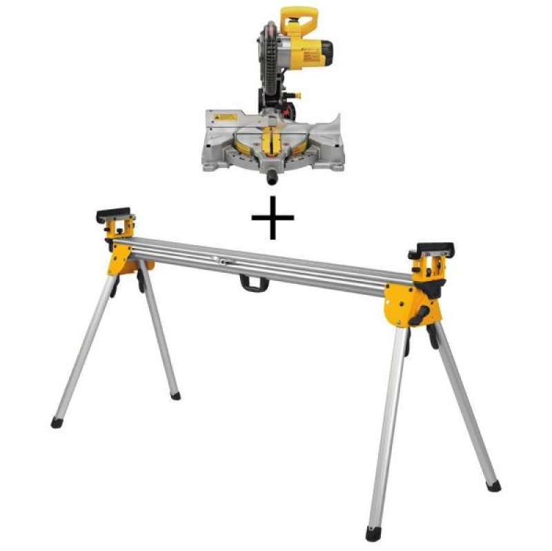 ihocon: Dewalt DWS713 15 Amp Corded 10 Compound Single Bevel Miter Saw + Dewalt DWX723 Heavy-Duty Miter Saw Stand  複合斜角斜切鋸+斜切鋸架