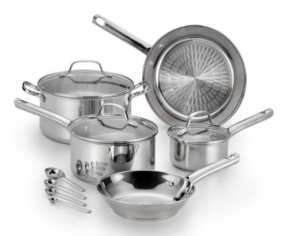 ihocon: T-fal Performa 12-Piece Stainless Steel Cookware Set with Glass Lids 不銹鋼鍋組