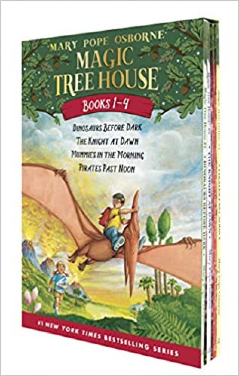 ihocon: [精裝本]Magic Tree House Boxed Set, Books 1-4: Dinosaurs Before Dark, The Knight at Dawn, Mummies in the Morning, and Pirates Past Noon