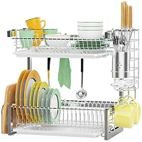 ihocon: Veckle 2 Tier Dish Rack with Removable Drain Board 雙層碗盤瀝水架
