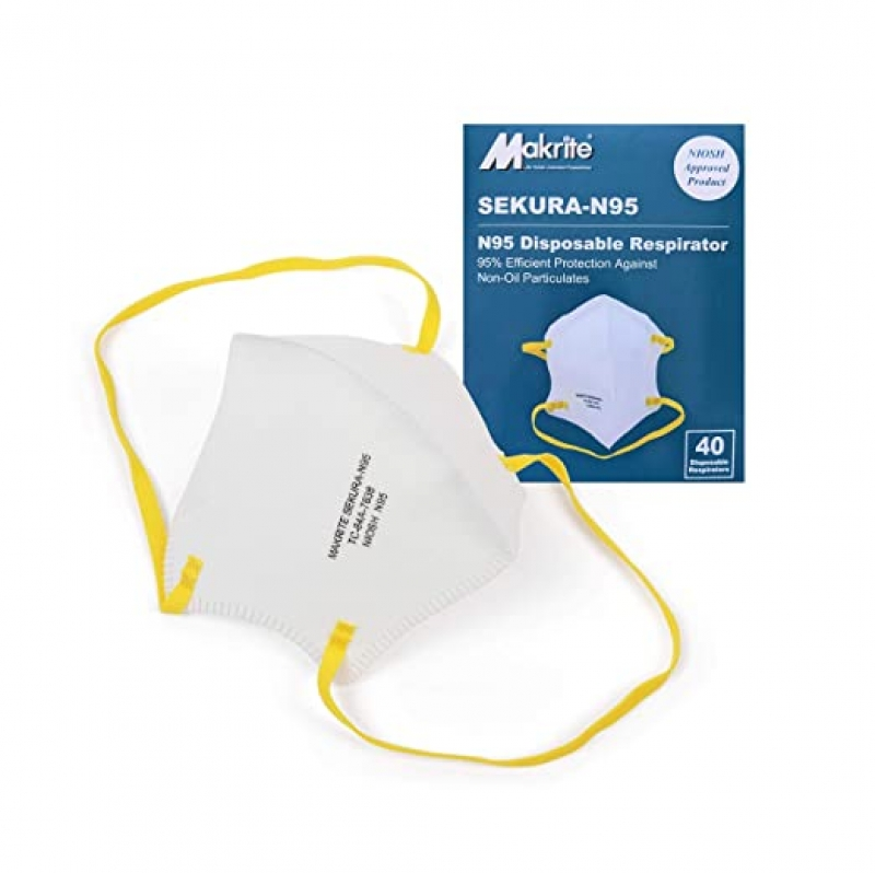 ihocon: Makrite SEKURA N95 Foldable Particulate Respirator Mask, NIOSH Certified, M/L Size (Box of 40 Masks) 口罩