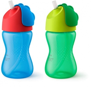 ihocon: Philips Avent My Bendy Straw Cup, 10oz, 2pk, Blue/Green, SCF792/21 飛利浦吸管杯