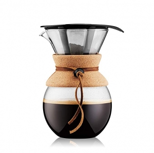 ihocon: Bodum Pour Over Coffee Maker with Permanent Filter, Glass, 34 Ounce, 1 Liter 沖濾式咖啡壺