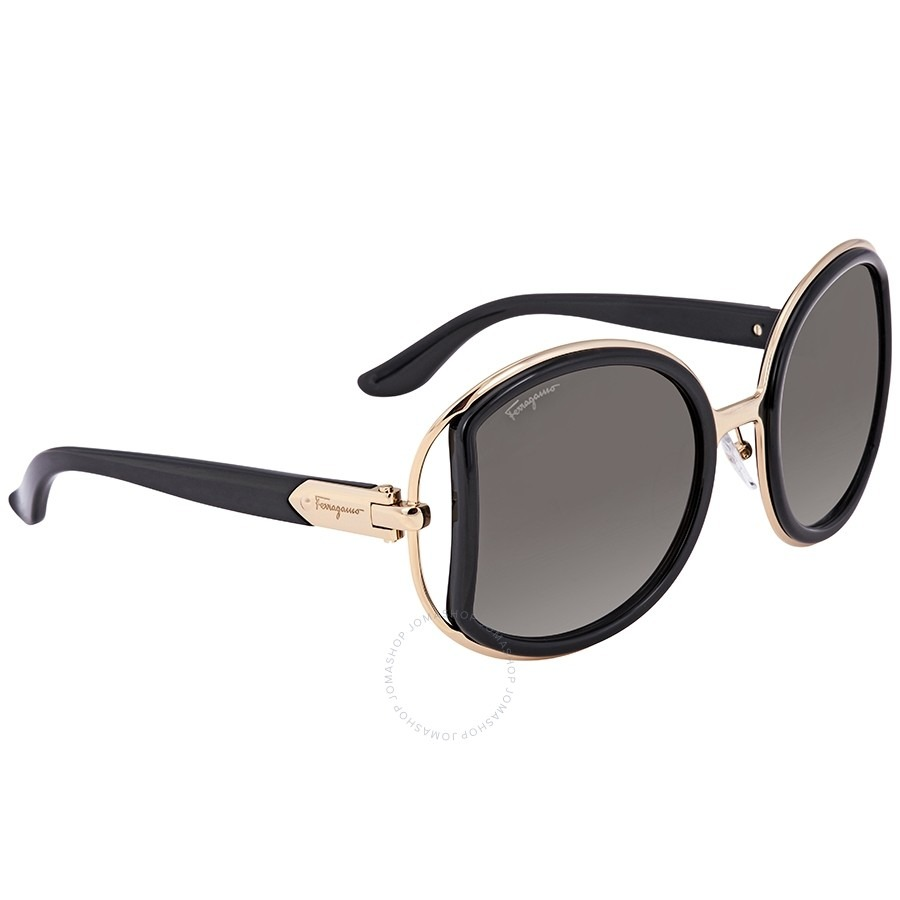 ihocon: Salvatore Ferragamo Grey Gradient Round Sunglasses太陽眼鏡