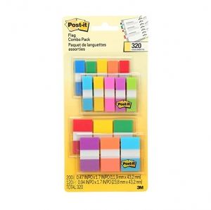 ihocon: Post-it Flags Assorted Color Combo Pack, 320 Flags Total, 200 1-Inch Wide Flags and 120 .5-Inch Wide Flags, 4 On-The-Go Dispensers/Pack (683XL1) 便利貼