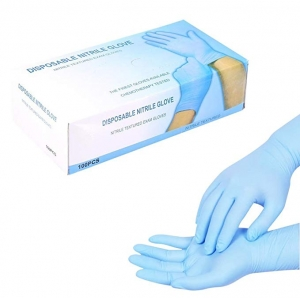 ihocon: Tattoo Nitrile Disposable Powder Free Mechanic Textured Exam Gloves-3 Size - 100Pcs/Box(L-Blue) 一次性/拋棄性手套
