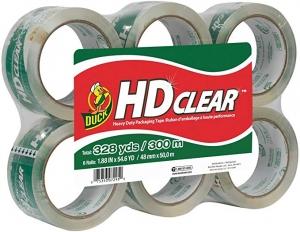 ihocon: Duck HD Clear Heavy Duty Packing Tape Refill, 6 Rolls, 1.88 Inch x 54.6 Yard, 透明打包膠帶