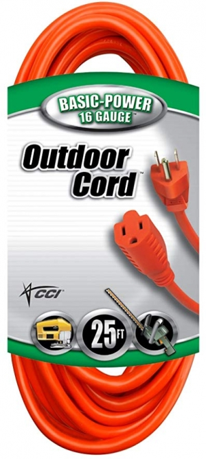 ihocon: Coleman Cable Vinyl Outdoor Extension Cord In Orange With 3-Prong Plug (25 Feet, 16/3 gauge) 室外延長線