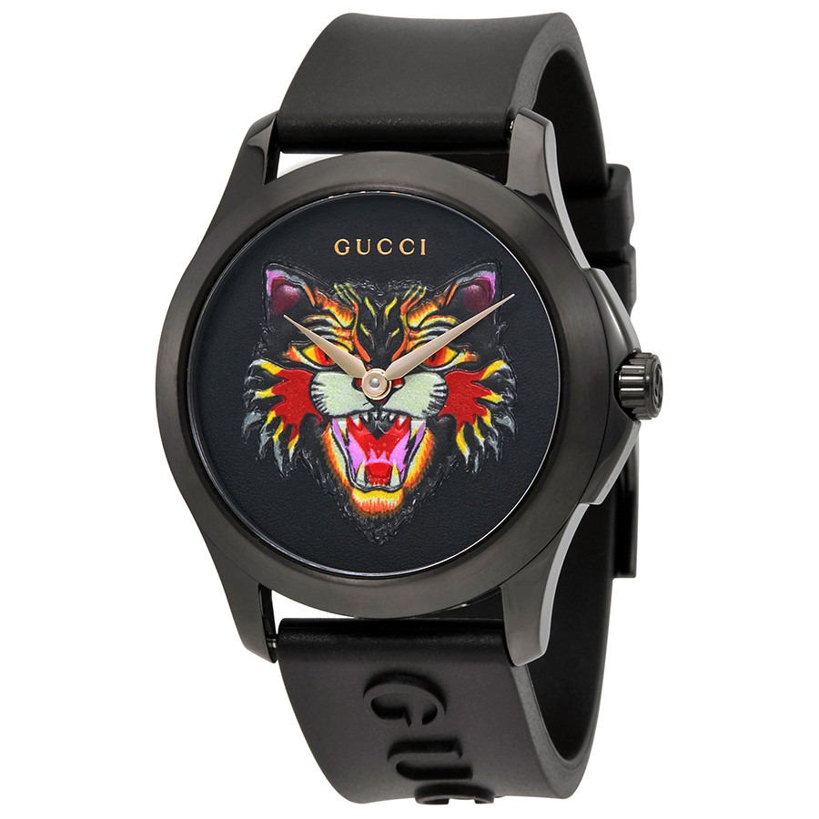 ihocon: [男, 女均適用] Gucci G-Timeless Black with Cat Motif Dial Rubber Watch 手錶