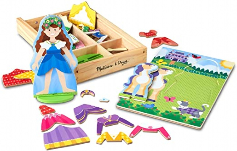 ihocon: Melissa & Doug Princess & Horse Magnetic Dress-Up Wooden Dolls Pretend Play Set (35 pcs) 木製玩具