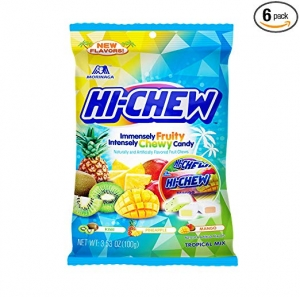 ihocon: Hi-Chew Sensationally Chewy Japanese Fruit Candy, Tropical Mix, 3.53 Ounce ,Pack of 6 水果糖