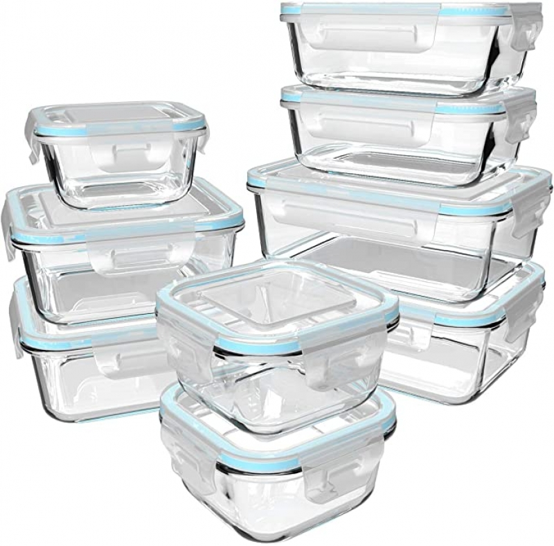 ihocon: S Salient Glass Food Storage Containers with Lids 18 Piece, 玻璃食物保鮮盒9個