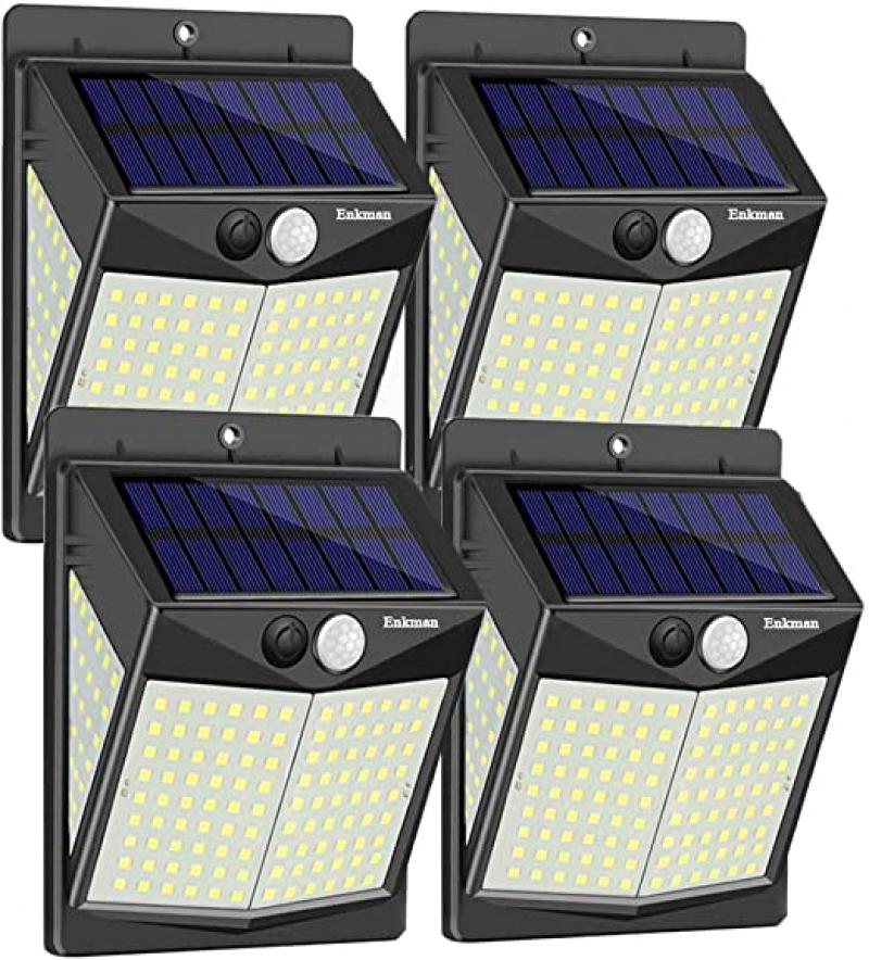 ihocon: Enkman Solar Lights Outdoor 4 Pack 3 Modes 140 LEDs Wireless Motion Sensor 太陽能動作感應室外燈4盞