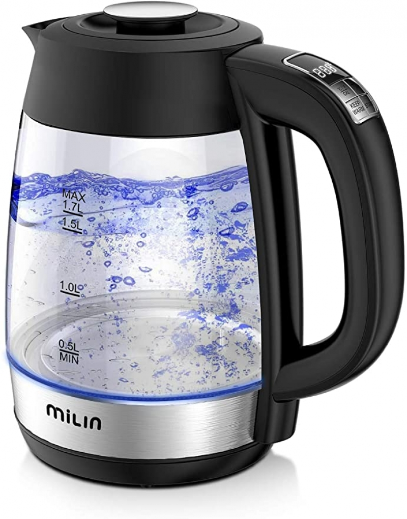 ihocon: MILIN Electric Kettle, 6 Level Temperature Control, 1.7L 玻璃電熱水瓶