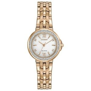 ihocon: Citizen Eco-Drive Women's Diamond Accents Rose Gold 28mm Watch EM0443-59A 光動能女鑽錶