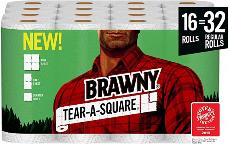 ihocon: [16捲等於32捲的份量] Brawny Tear-A-Square Paper Towels, Quarter Size Sheets, 16 Count of 128 Sheets Per Roll 廚房紙巾