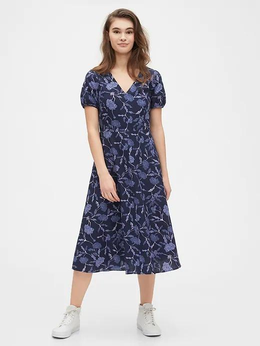 ihocon: GAP V-Neck Midi Dress in Linen 女士洋裝