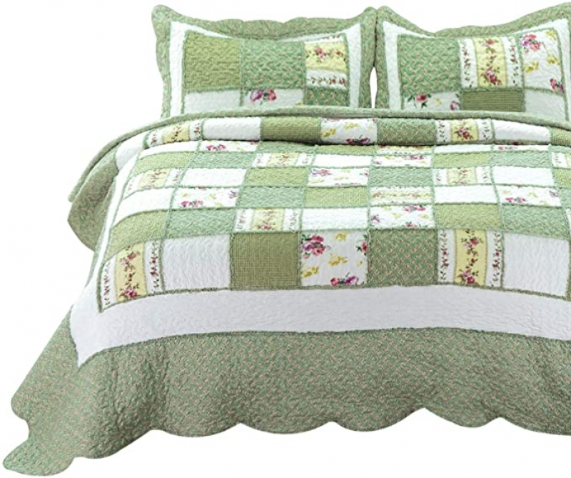 ihocon: Bedsure 3-Piece Printed Quilt Set Queen/Full Size 3件式薄被+2個枕頭套