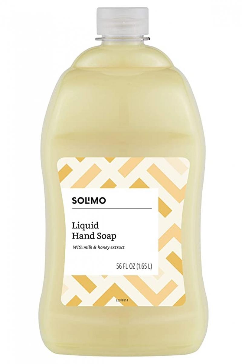 ihocon: [Amazon自家品牌] Solimo Liquid Hand Soap Refill, Milk and Honey Scent, 56 Fluid Ounces 洗手液皂