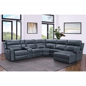 ihocon: Conway Top-Grain Leather 6-Piece Reclining Sectional with Chaise 沙發組