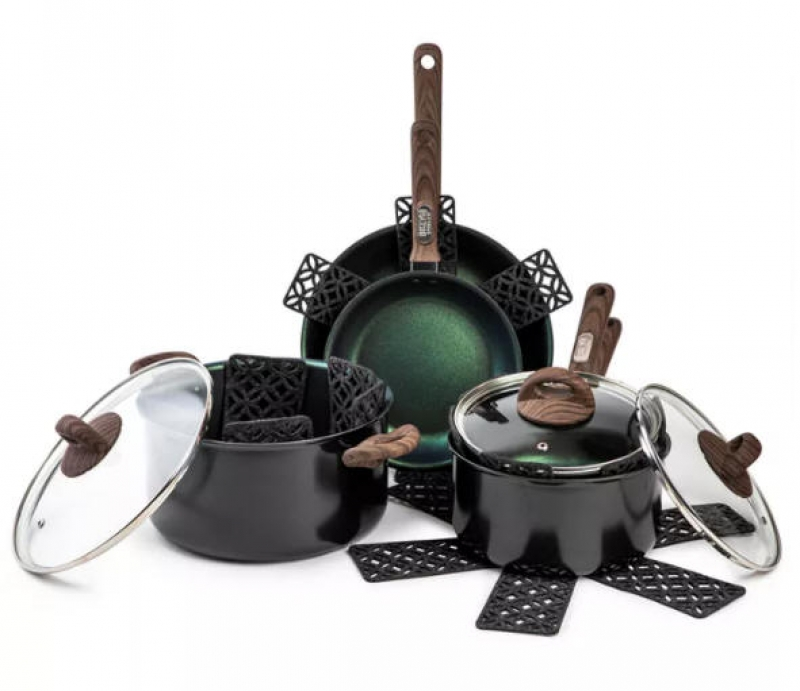 ihocon: Brooklyn Steel Co. Satellite 12-Pc. Nonstick Cookware Set不沾鍋組