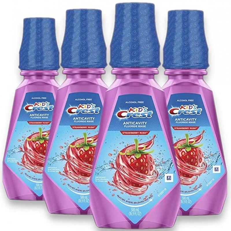 Crest 兒童草莓口味抗蛀齒漱口水 16.9oz 4瓶 $13.06(原價$17.96)
