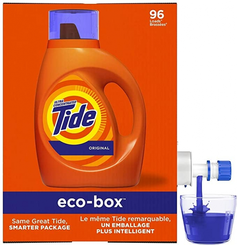 ihocon: Tide Laundry Detergent Liquid Eco-Box, Concentrated, Original Scent, 105 oz, HE Compatible, 96 Loads 環保包裝洗衣精