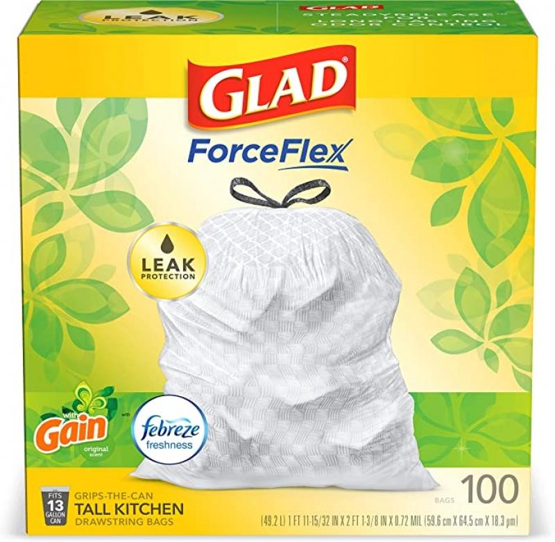 ihocon: Glad ForceFlex Tall Kitchen Drawstring Trash Bags, 13 Gal, 100 Ct 廚房抽繩垃圾袋