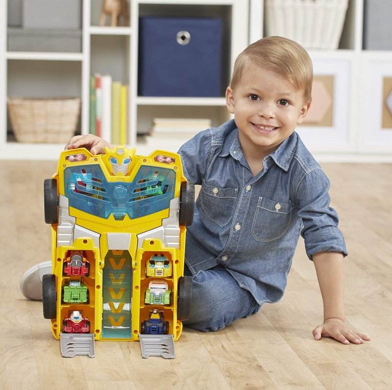 ihocon: Playskool Heroes Transformers Rescue Bots Academy Bumblebee Track Tower 14 Playset, 2-in-1 Converting Robot