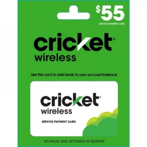 ihocon: $55 Cricket Wireless Service Payment Card (Email Delivery)