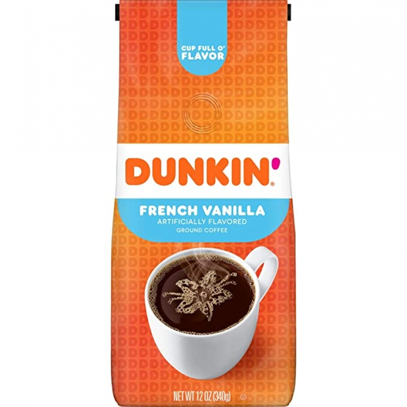 ihocon: Dunkin' French Vanilla Flavored Ground Coffee, 12 Ounces 研磨咖啡