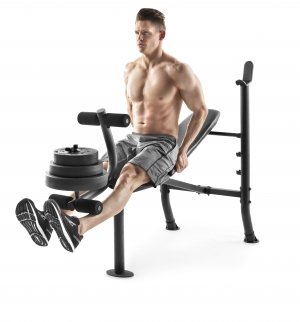 ihocon: Weider XR 6.1 Adjustable Bench with 100lb Weight Set and Leg Developer  可調式運動健身凳, 含100磅舉重片
