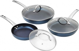 ihocon: CONCORD Sapphire Nonstick 3 Piece Frying Pan Cookware Set with Lids (Induction Compatible) (3 PC Frying Pan) 藍寶石含蓋不粘鍋(可用於電磁爐)