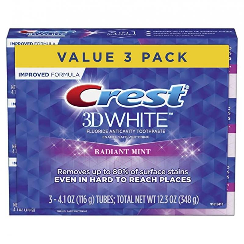 ihocon: Crest 3D White Toothpaste Radiant Mint (3 Count of 4.1 oz Tubes)美白牙膏