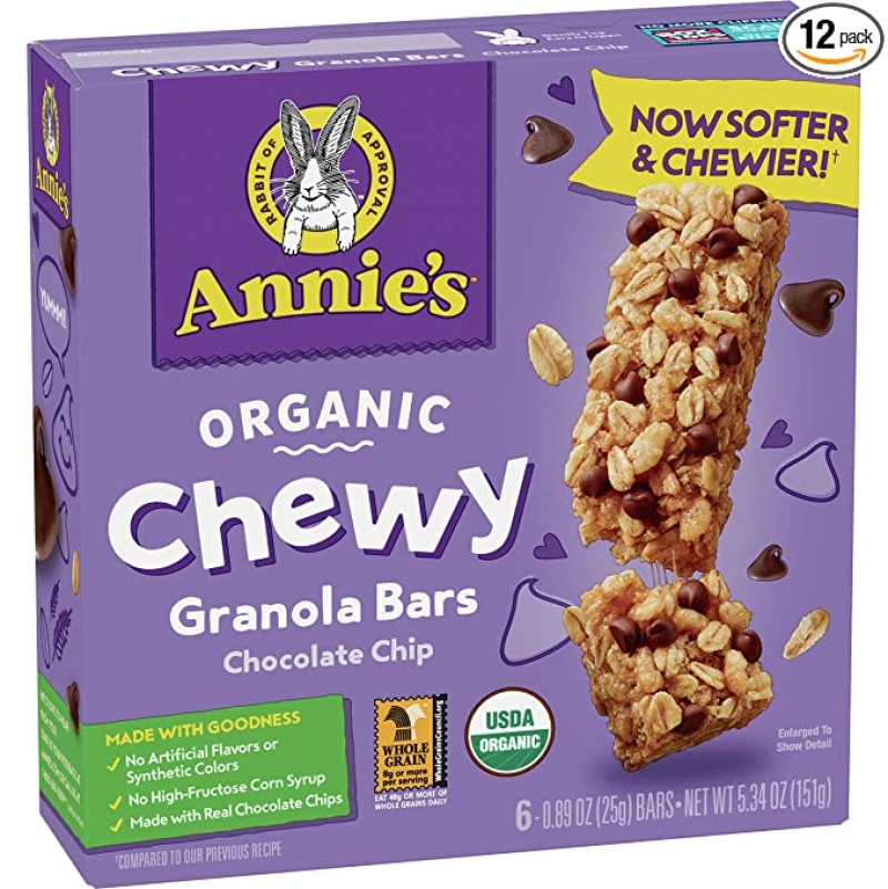 ihocon: Annie's Organic Chewy Granola Bars Chocolate Chip, 5.34 oz, 6 ct (Pack of 12)