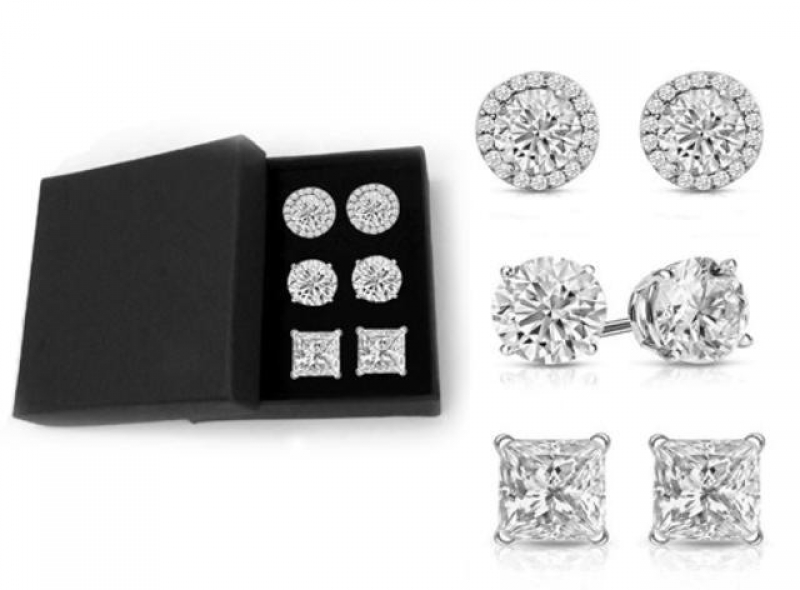 ihocon: 7.00 CTTW Set of 3 Sterling Silver Swarovski Crystal Stud Set With Giftbox 7.施華洛世奇水晶耳環3副