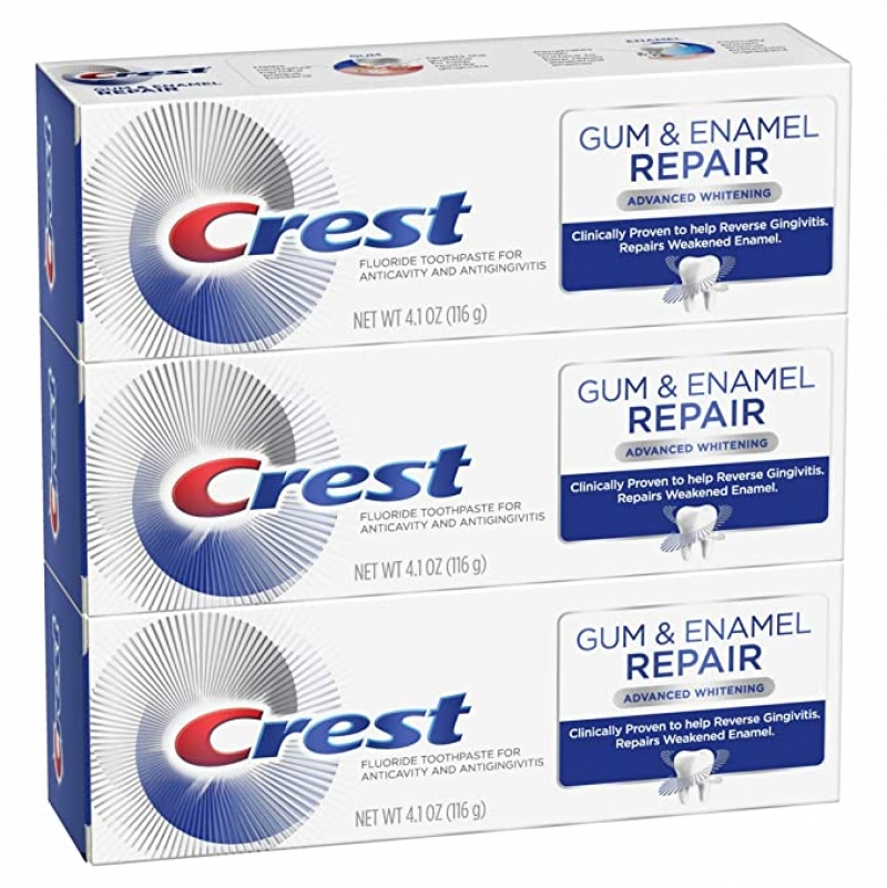 ihocon: Crest Gum & Enamel Repair Toothpaste, Advanced Whitening, 4.1oz (Pack of 3)  牙齦/牙釉質修復美白牙膏