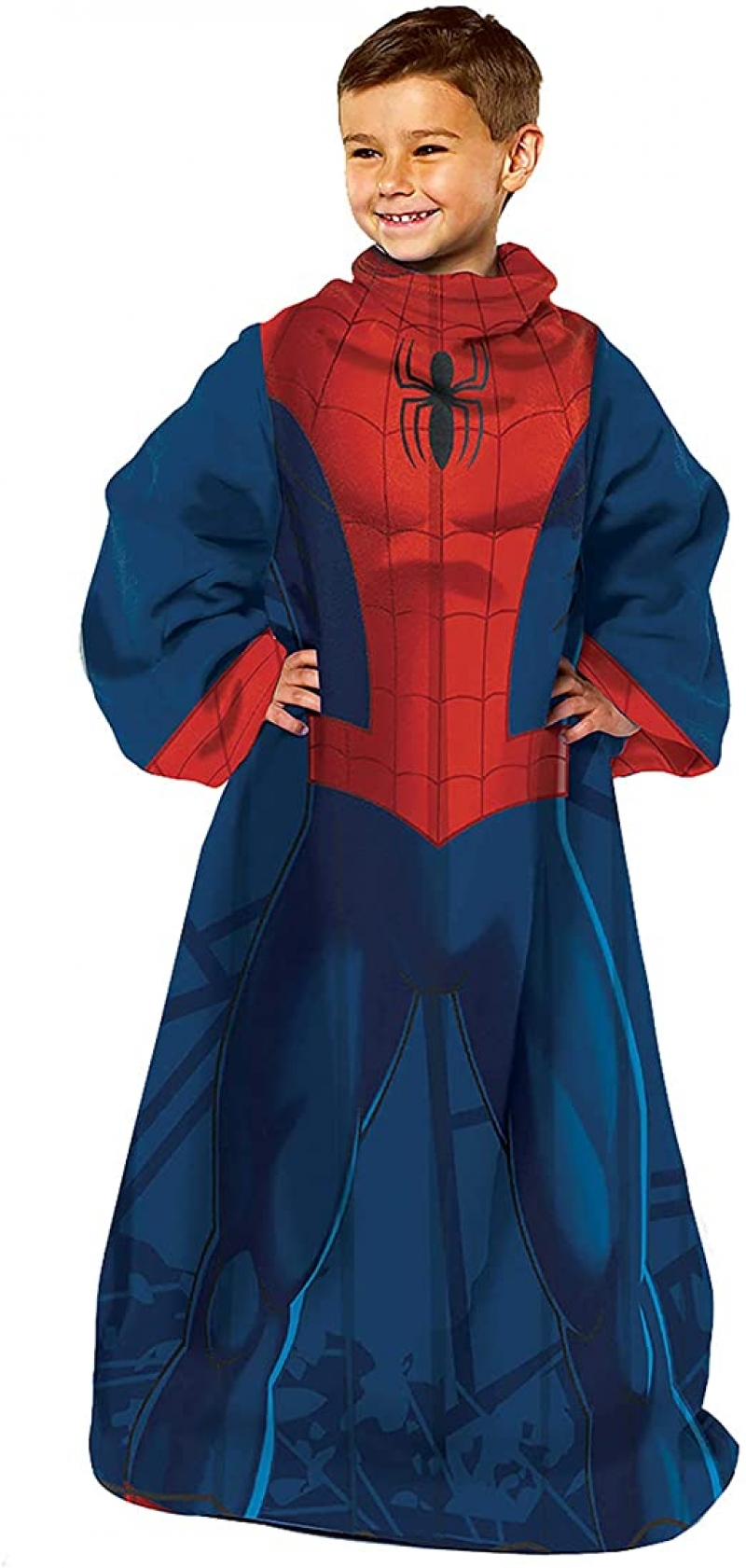 ihocon: Marvel Comfy Throw Blanket with Sleeves, Youth-48 x 48 Inches, Spider man 兒童蜘蛛俠有袖蓋毯